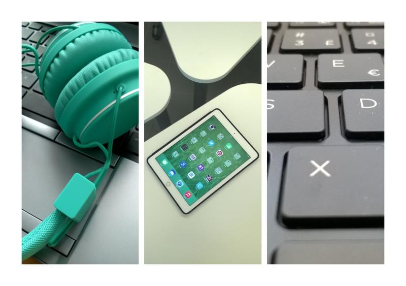 Kolmen kuvan kollaasi, jossa kuva kuulokkeista, tabletista ja tietokoneen näppäimistöstä.