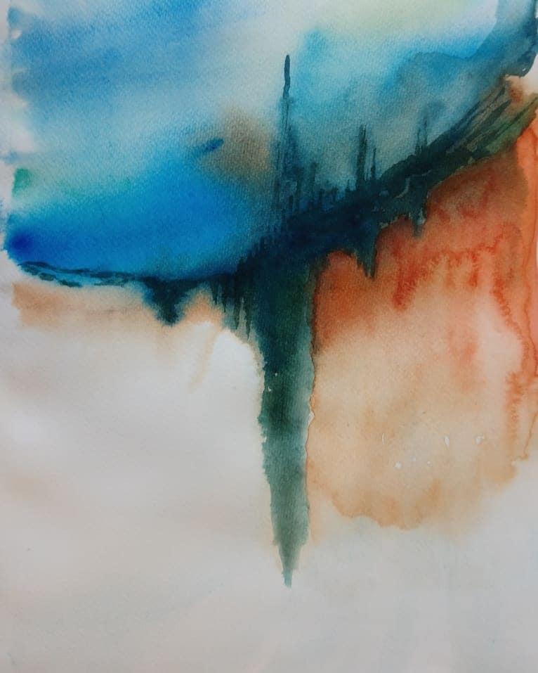 akvarellimaalaus, jossa sinistä, oranssia ja valkoista väriä